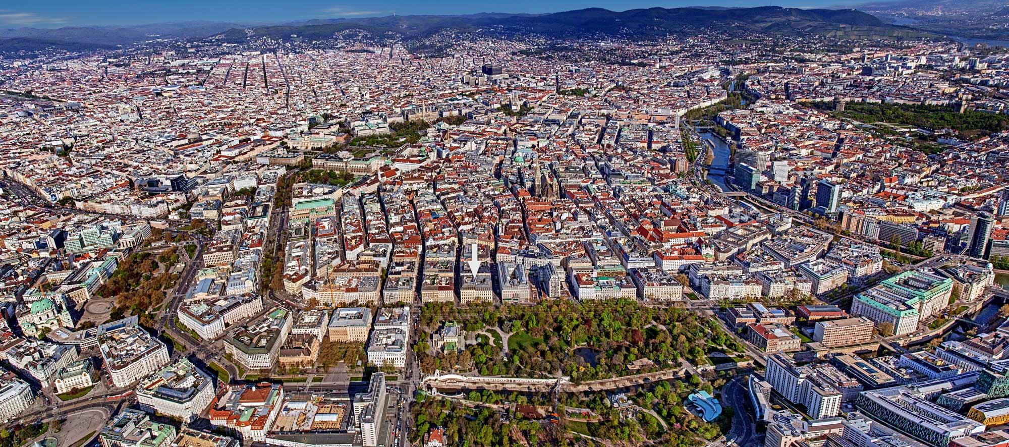 Stadt Wien aus der Vogelperspektive
