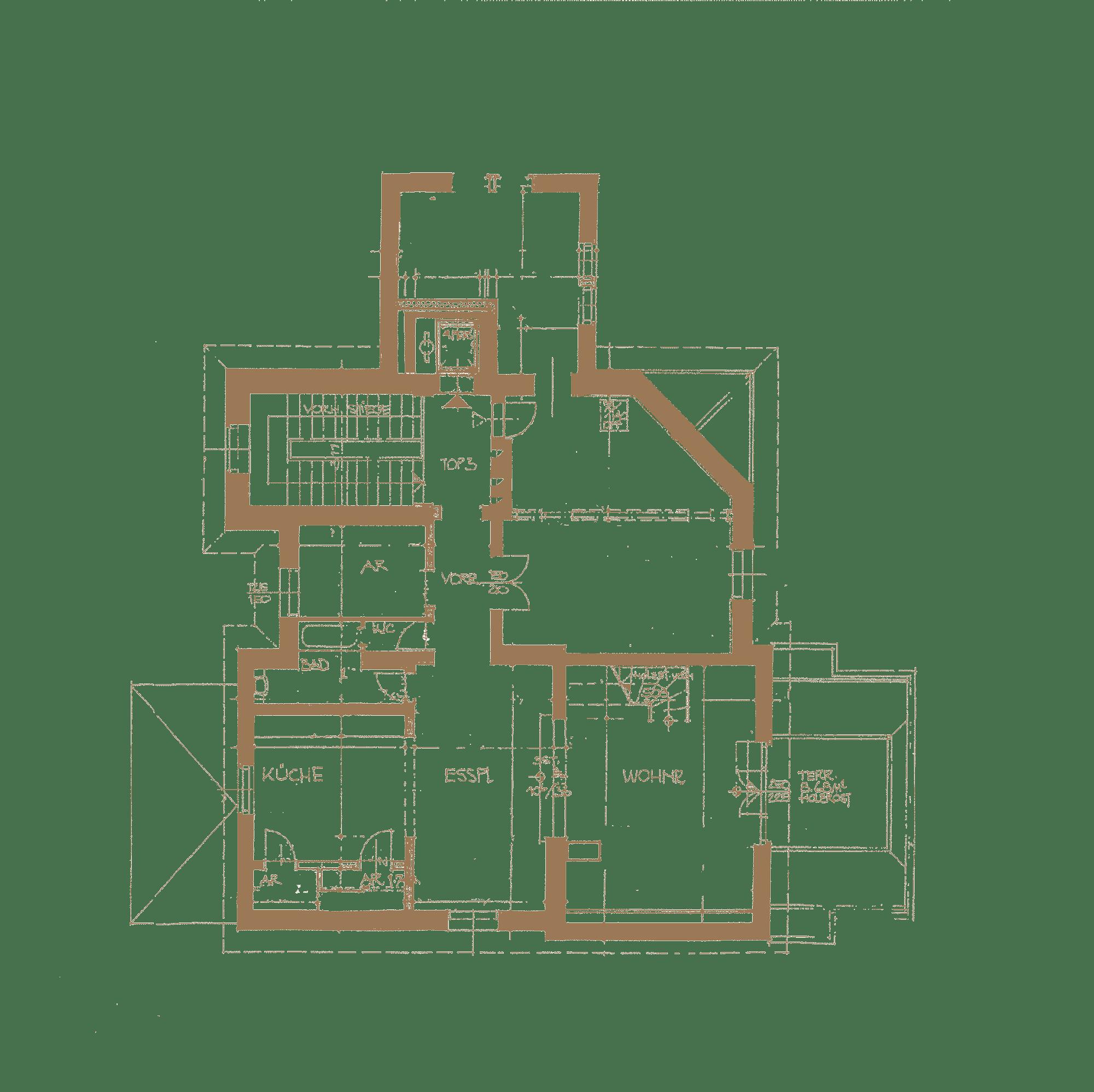 Dachgeschoss Grundriss der Villa in Baden