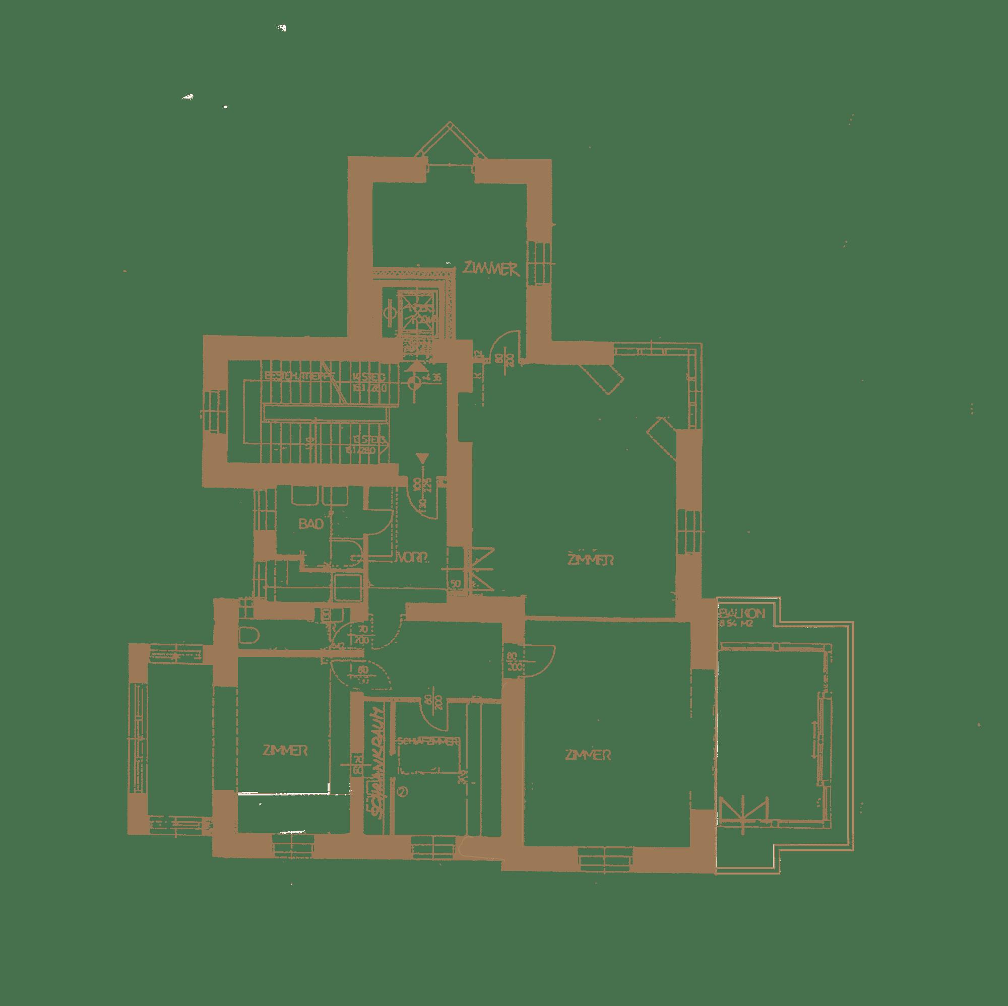 Grundriss des Obergeschosses in herrschaftlicher Villa in Baden