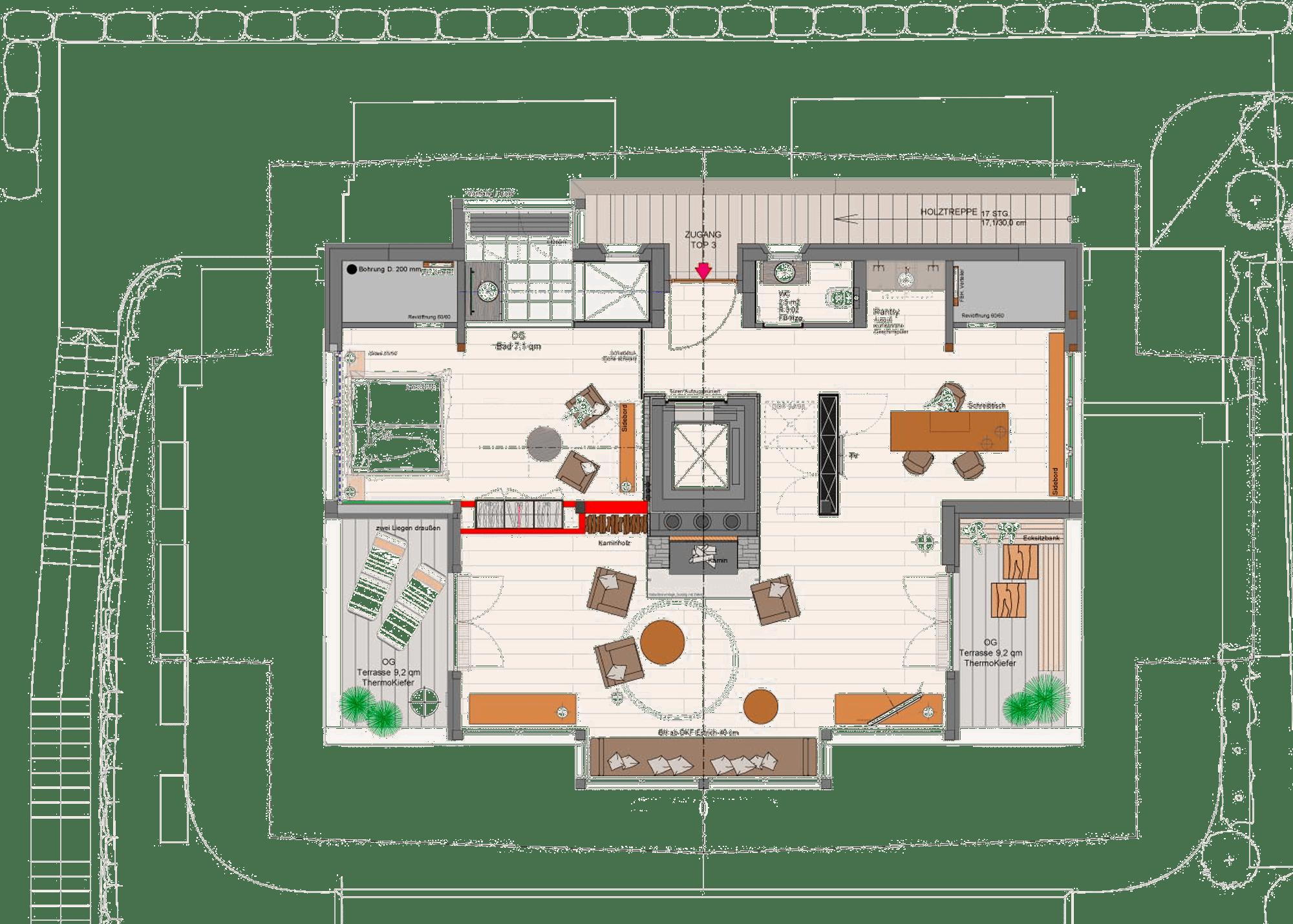 Grundriss Dachgeschoss Chalet am Lutzenberg